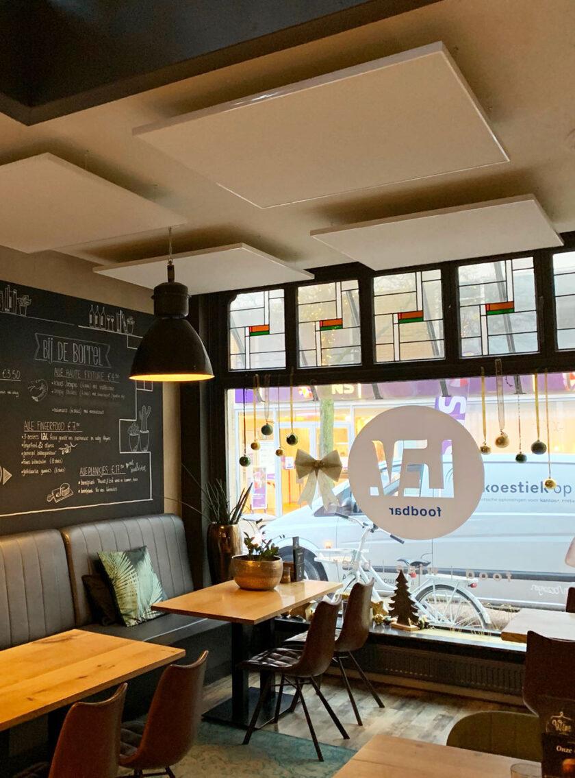 akoestisch plafondeiland restaurant bar cafe