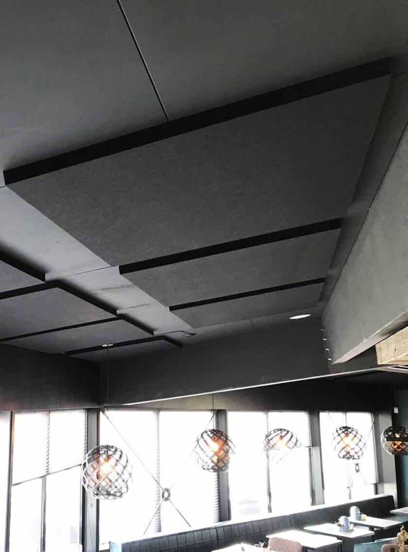 akoestisch polyesterwol plafond zwart
